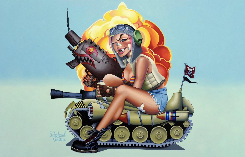 Photo wallpaper Minimalism, Figure, Weapons, Comic, Art, Tank, Concept art, Illustration, Concept Art, Character, Tank Girl, The …
