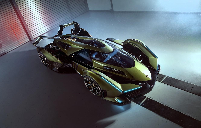 Photo wallpaper Lamborghini, The concept car, Lambo, Drives, V12, Wing, Vision Gran Turismo, 2019, Lambo V12 Vision