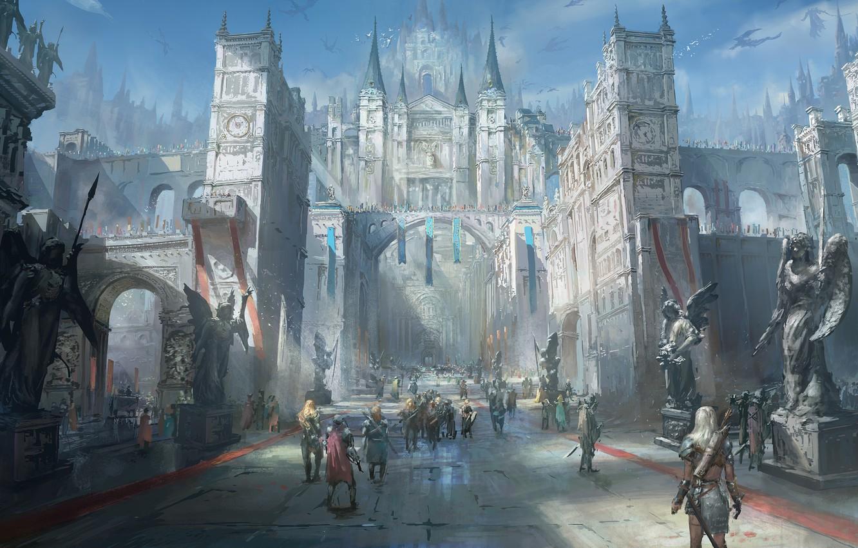 Photo wallpaper fantasy, people, Castle, digital art, artwork, fantasy art, dragons, towers, creature, painting art, statues, fantasy …