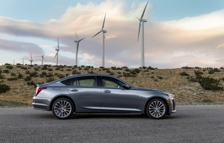 Photo wallpaper grey, Cadillac, sedan, side view, four-door, 2020, CT5
