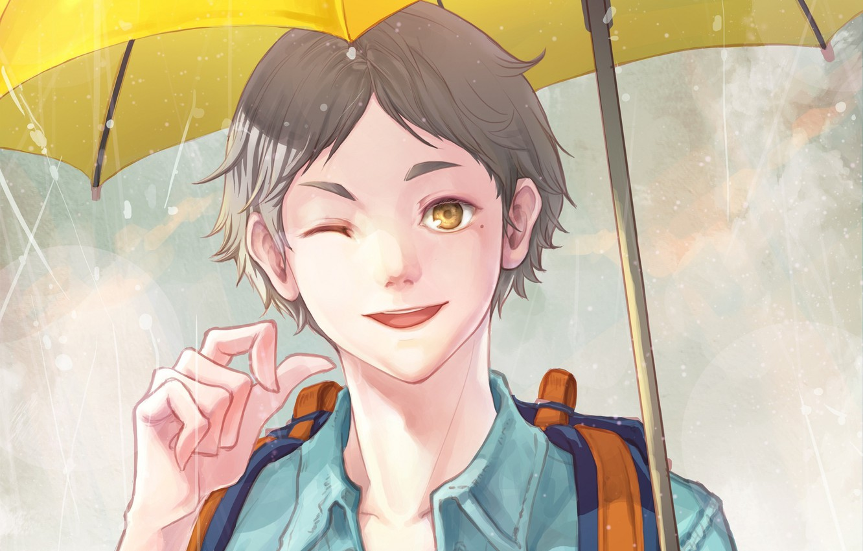 Photo wallpaper umbrella, guy, Volleyball, Haikyuu, Sugawara