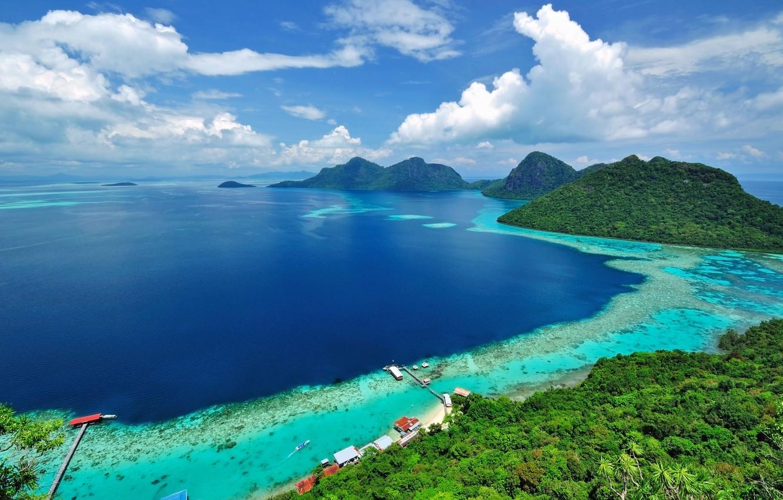 Photo wallpaper sea, forest, beach, the sky, the sun, trees, mountains, tropics, coast, horizon, pierce, panorama, houses, …