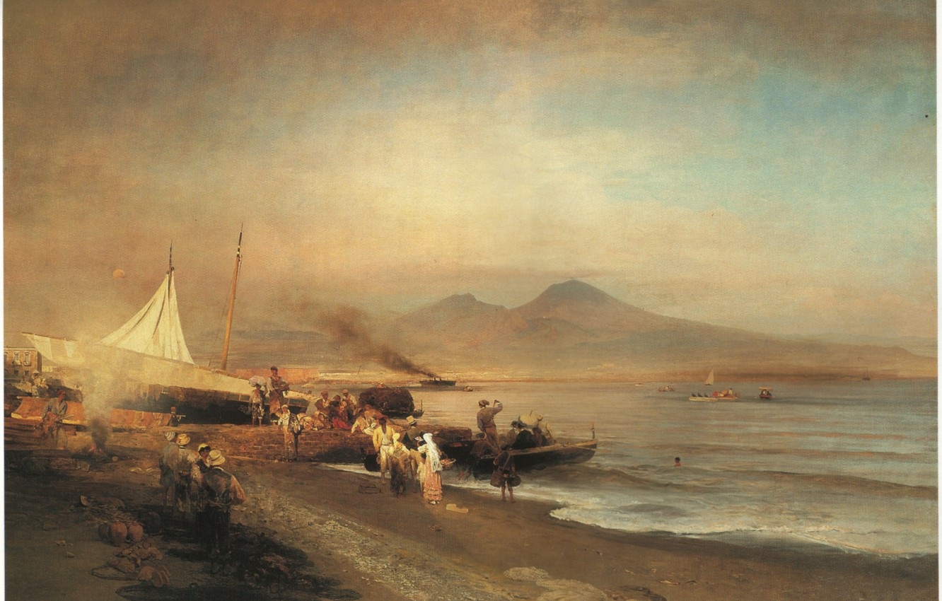 Photo wallpaper The Bay of Naples, Achenbach, Oswald, THE BAY OF NAPLES