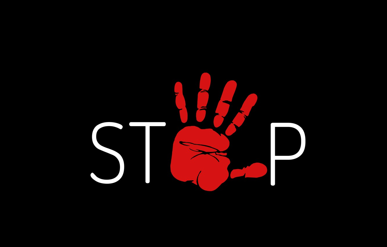 Photo wallpaper red, background, black, hand, minimalism, stop, the word, stop