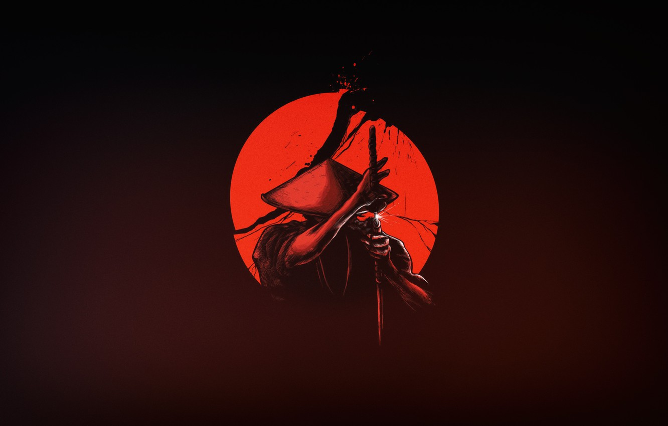 Wallpaper The Sun Minimalism Japan Sword Warrior Samurai Art Katana Images For Desktop Section Minimalizm Download