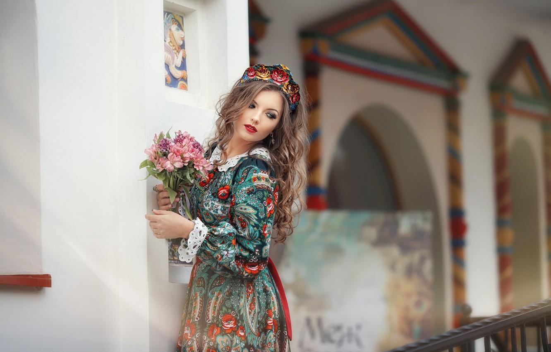 Photo wallpaper look, girl, flowers, pose, model, dress, beautiful, Anastasia Grosheva