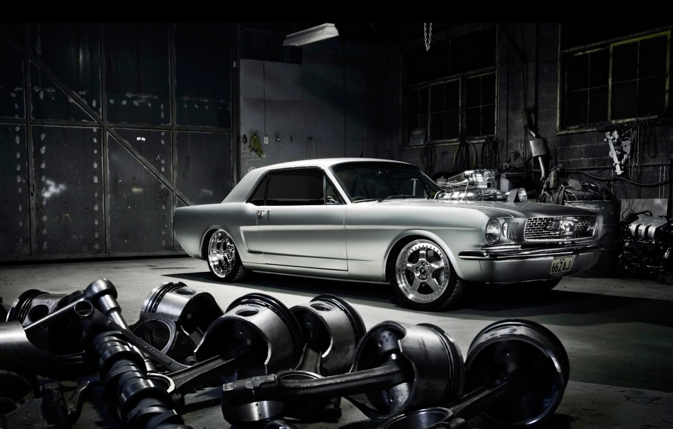 Photo wallpaper Muscle, Ford Mustang, Coupe, Custom, Garage, Modified