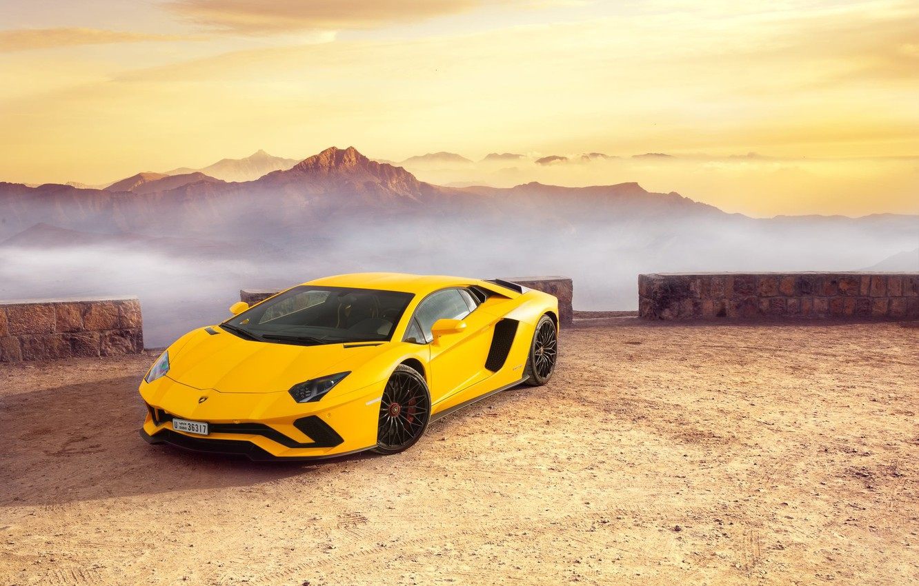 Photo wallpaper Lamborghini, Yellow, Supercar, Fast, Aventador S