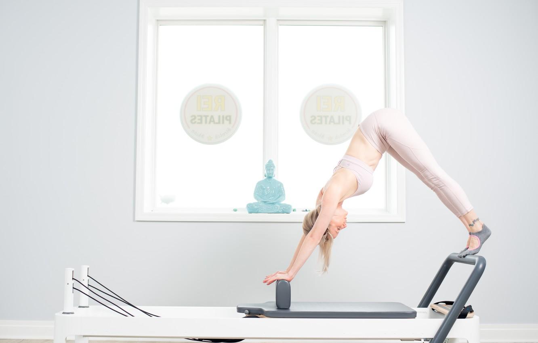 Photo wallpaper woman, buddha, pilates