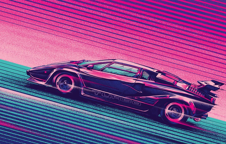 Photo wallpaper Auto, Music, Lamborghini, Machine, Style, Background, Car, Music, 80s, Style, Supercar, Neon, Turbo, Countach, Illustration, …