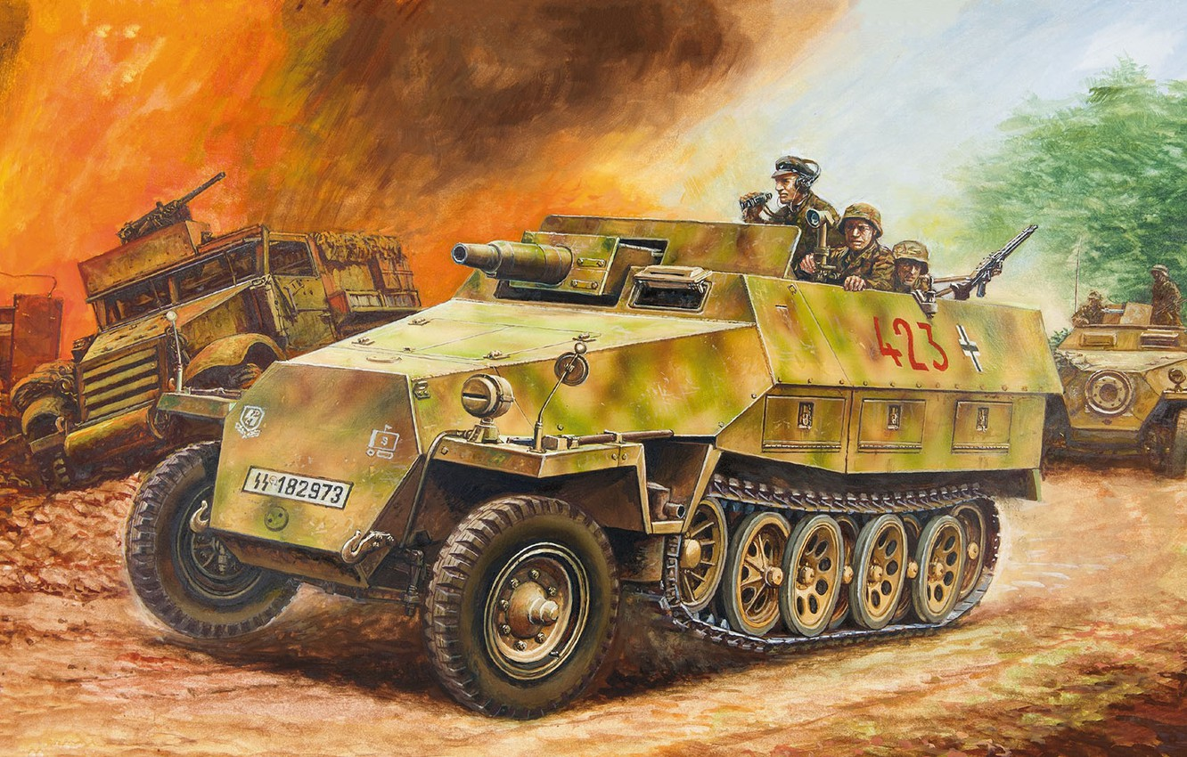 Wallpaper Germany Sau Apc Half Track Self Propelled Artillery The Waffen Ss Protection Armored Car Waffen Ss Sd Car 251 9 Ausf D Butts Images For Desktop Section Oruzhie Download