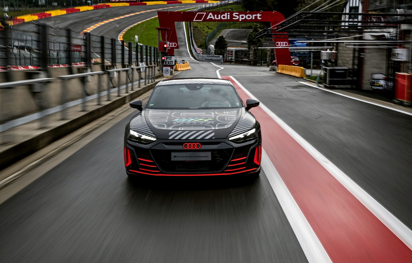 Photo wallpaper Audi, coupe, track, the fence, front view, 2020, RS e-Tron GT Prototype