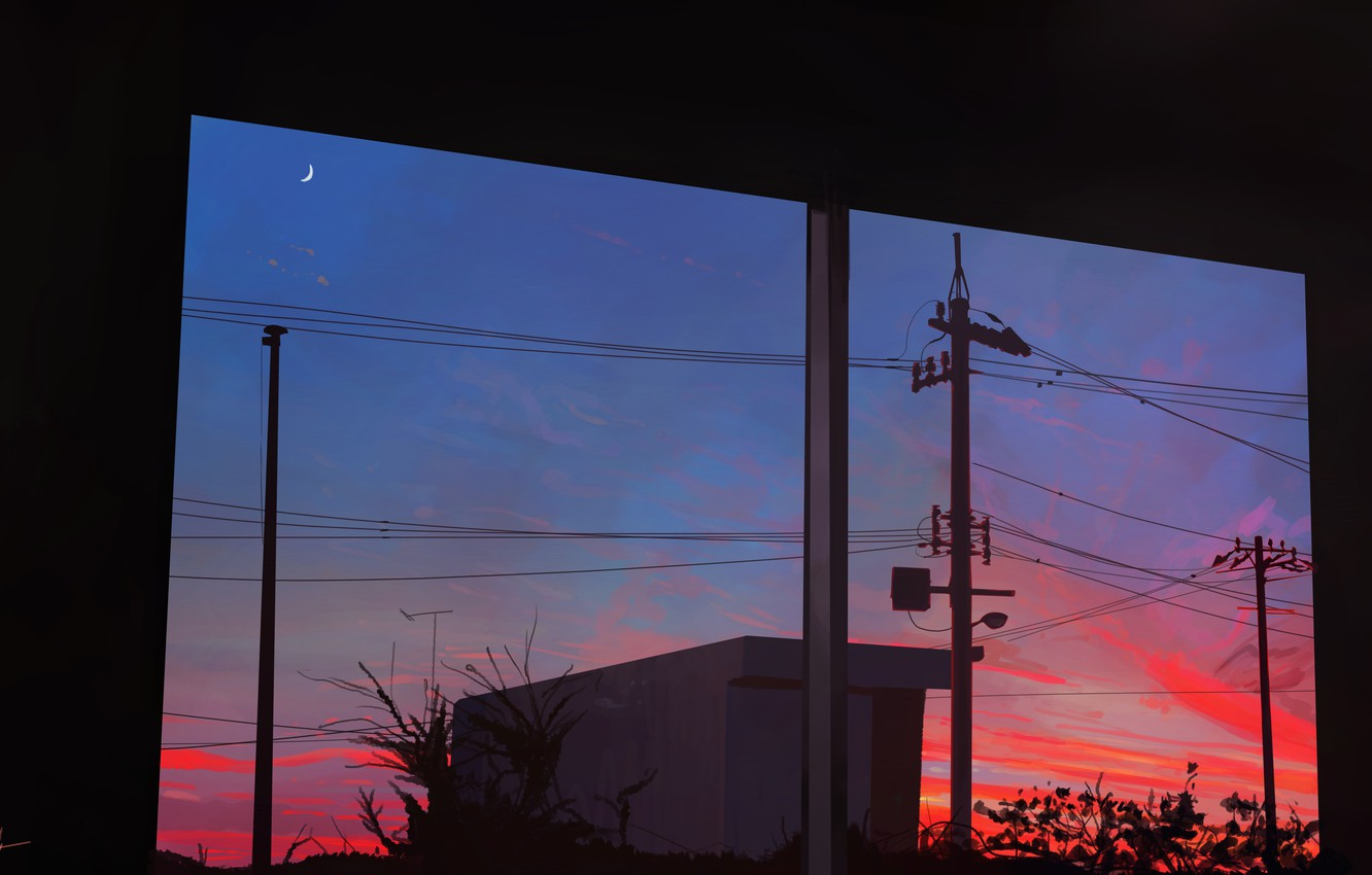 Photo wallpaper the sky, sunset, the moon, twilight, the view from the window, power lines
