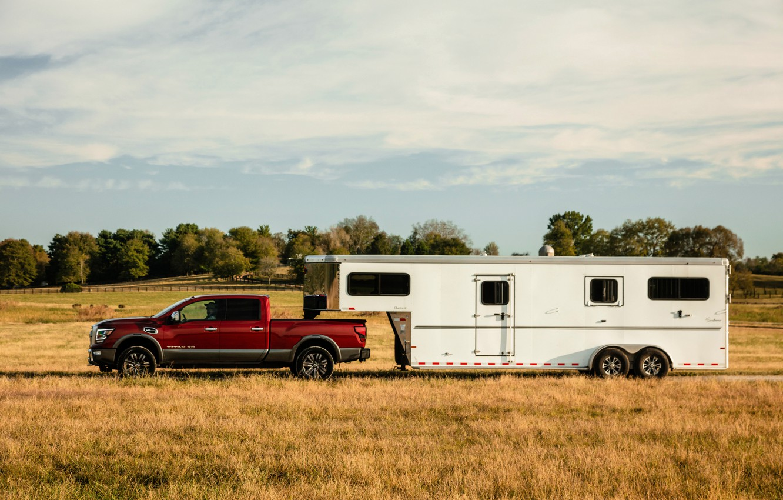 Photo wallpaper field, Nissan, pickup, tractor, Titan, 2020, Titan XD Platinum Reserve