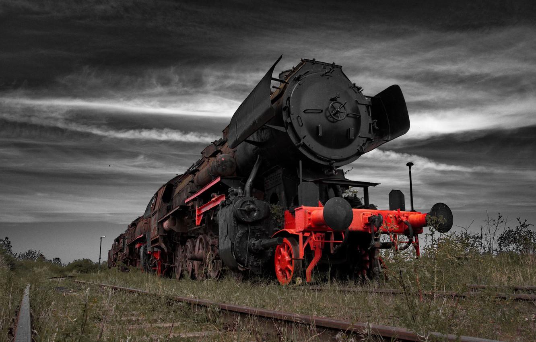 Photo wallpaper grass, rails, train, the engine