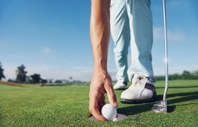 Photo wallpaper golf, ball, hole, golf club