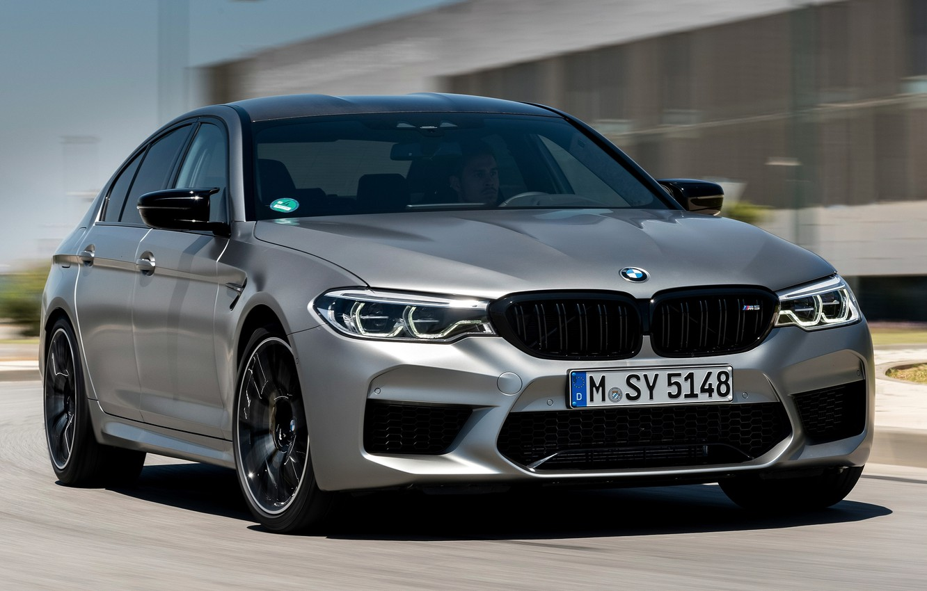 Photo wallpaper road, grey, the building, speed, BMW, sedan, 4x4, 2018, four-door, M5, V8, F90, M5 Competition