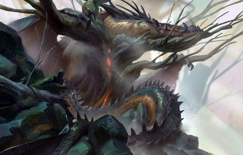 Photo wallpaper fantasy, horns, dragon, artist, artwork, fantasy art, creature, Even Amundsen