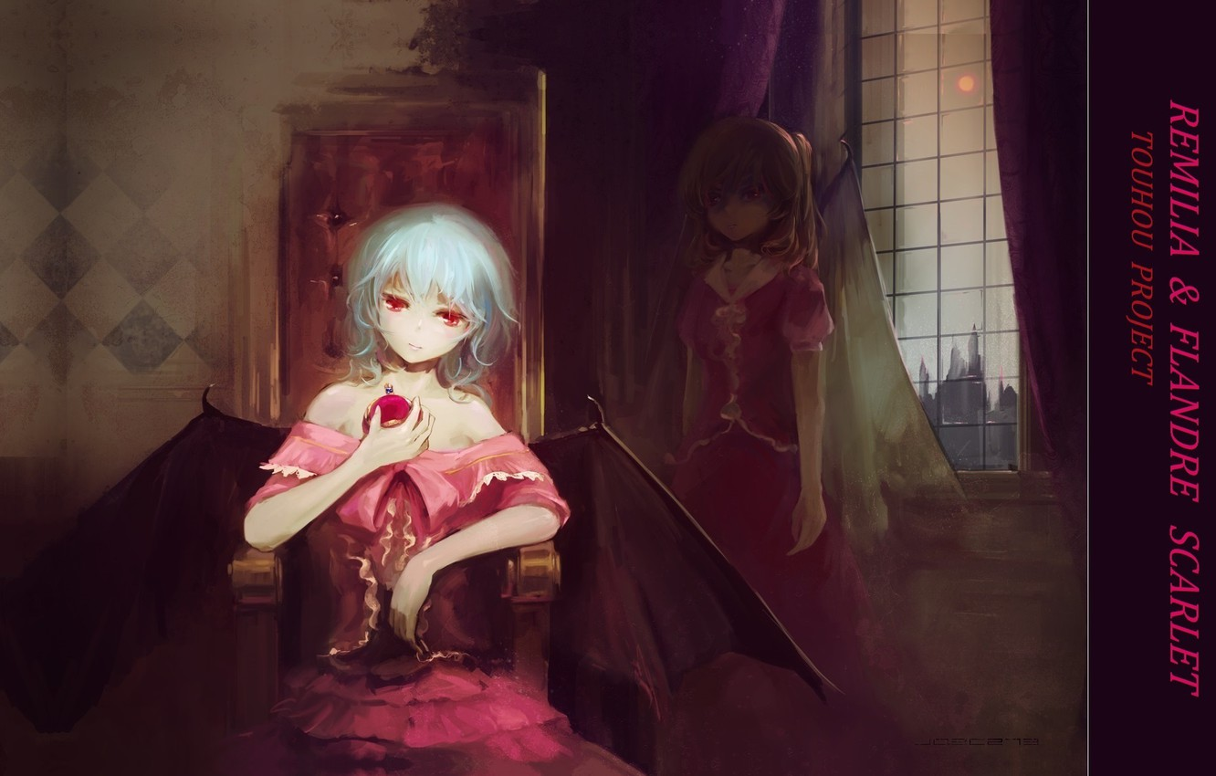 Photo wallpaper twilight, the full moon, red eyes, in the dark, Remilia Scarlet, Flandre Scarlet, Gothic lolita, …