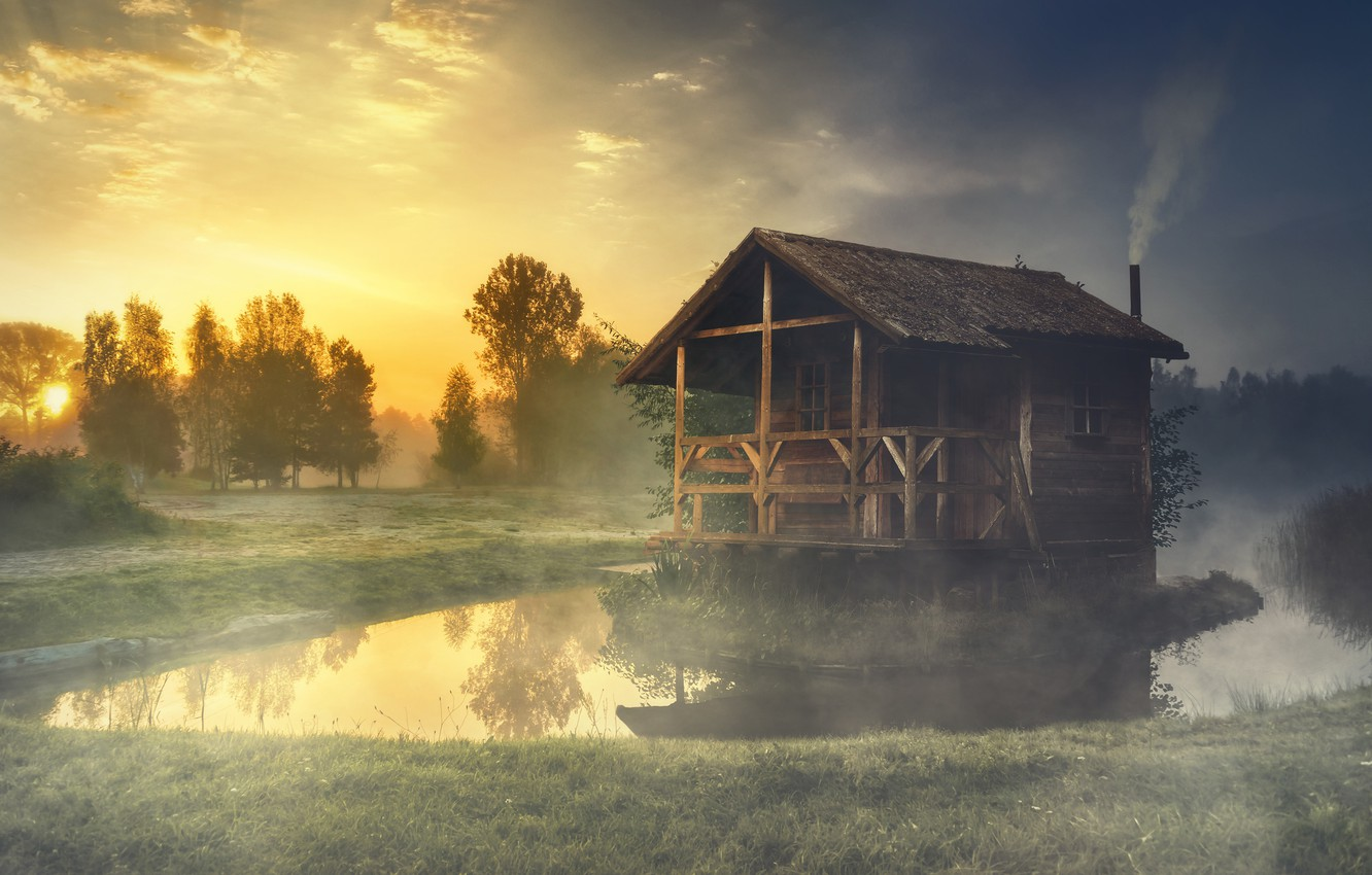 Photo wallpaper forest, summer, the sky, grass, the sun, trees, landscape, nature, fog, comfort, lake, house, reflection, …