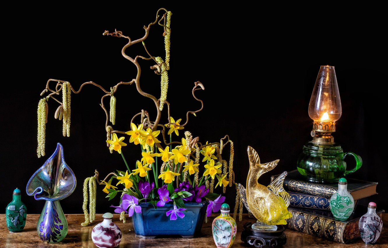 Photo wallpaper flowers, style, background, books, lamp, fish, crocuses, still life, daffodils, composition, bottles