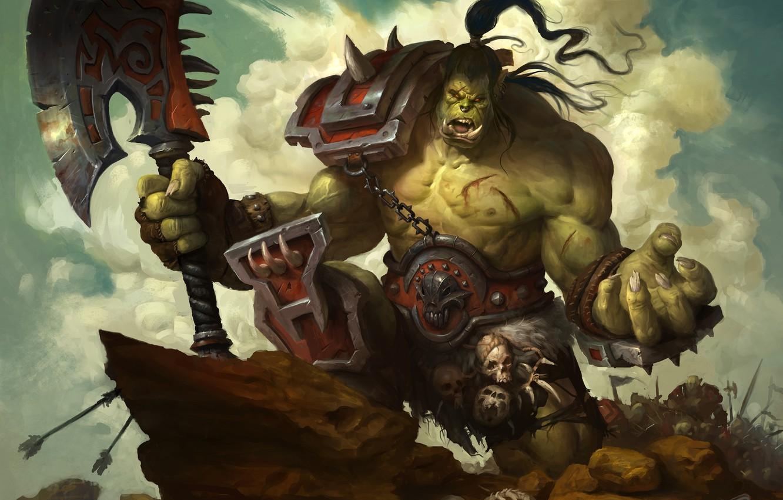Photo wallpaper axe, Warcraft, Orc