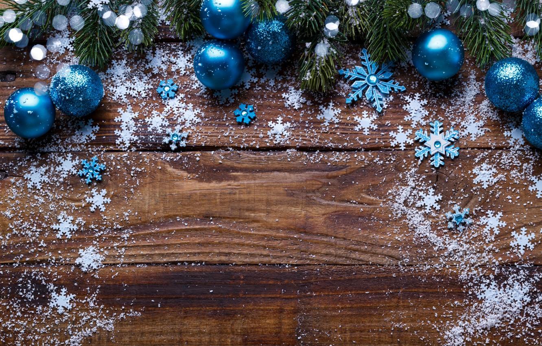 Photo wallpaper snow, snowflakes, balls, tree, New Year, Christmas, Christmas, balls, wood, blue, snow, New Year, snowflakes, …