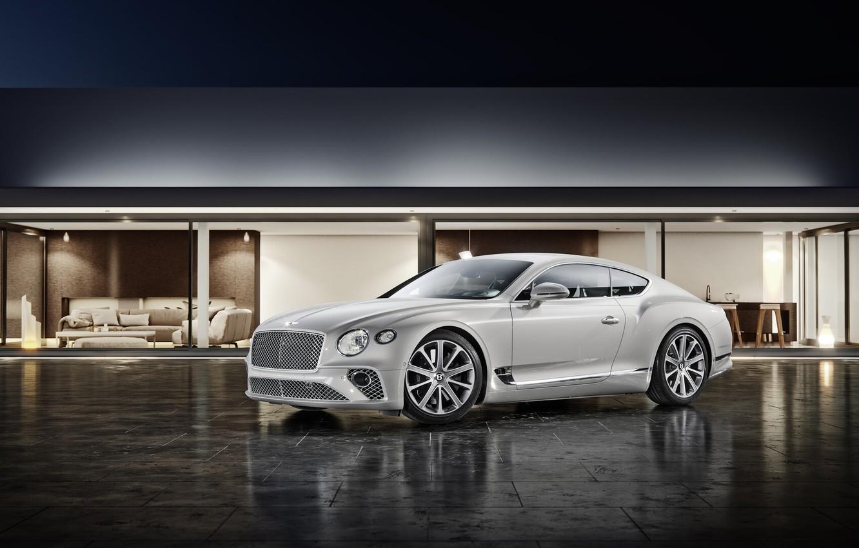 Photo wallpaper Bentley, Continental, White, Machine, Car, Car, Automotive, Bentley Continental GT, Architecture, White color, Transport & …