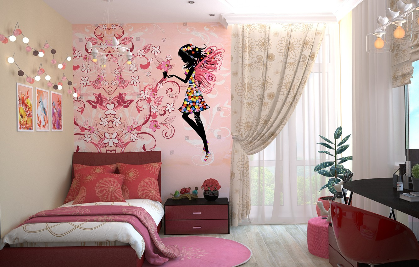 Photo wallpaper table, room, figure, bed, interior, window, pictures, chest, tulle, children's, Drapes