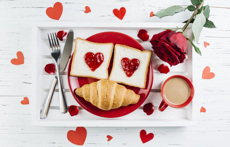 Photo wallpaper love, flowers, heart, roses, Breakfast, petals, red, red, love, heart, flowers, romantic, jam, coffee cup, …