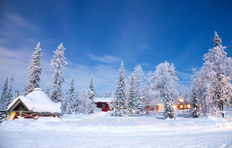 Photo wallpaper winter, snow, trees, landscape, nature, winter, house, house, hut, landscape, nature, beautiful, winter, snow