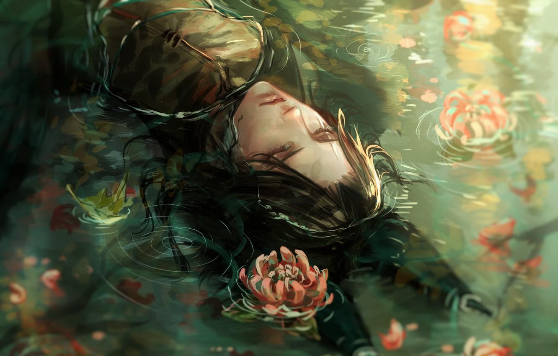 Photo wallpaper guy, black hair, chrysanthemum, in the water, closed eyes, Fox ears, lying on her back, …