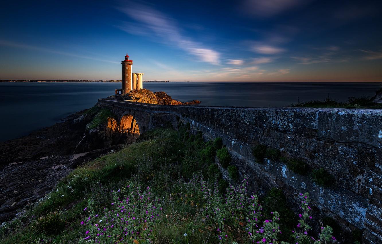 Photo wallpaper road, sea, landscape, sunset, stones, shore, France, lighthouse, grass, Brittany, Phare du Petit Minou