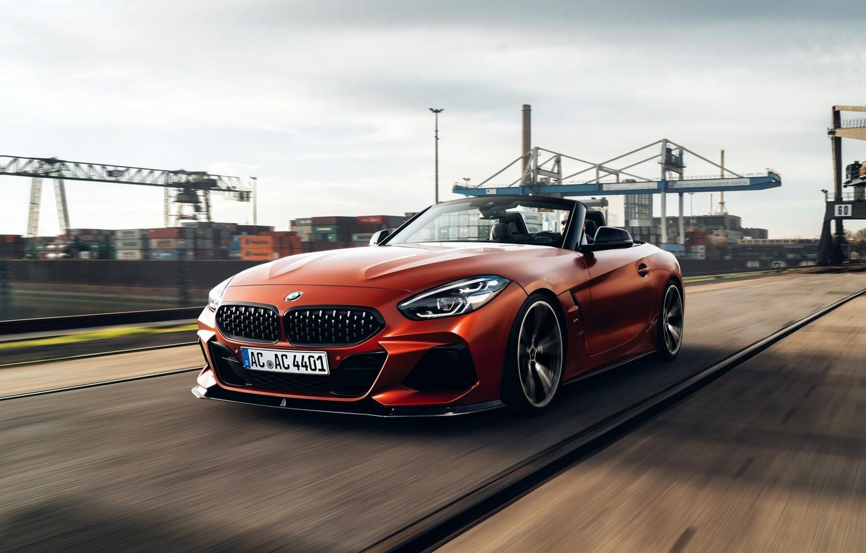 Photo wallpaper rails, speed, BMW, Roadster, industrial zone, double, AC Schnitzer, BMW Z4, M40i, Z4, 2019, dark …