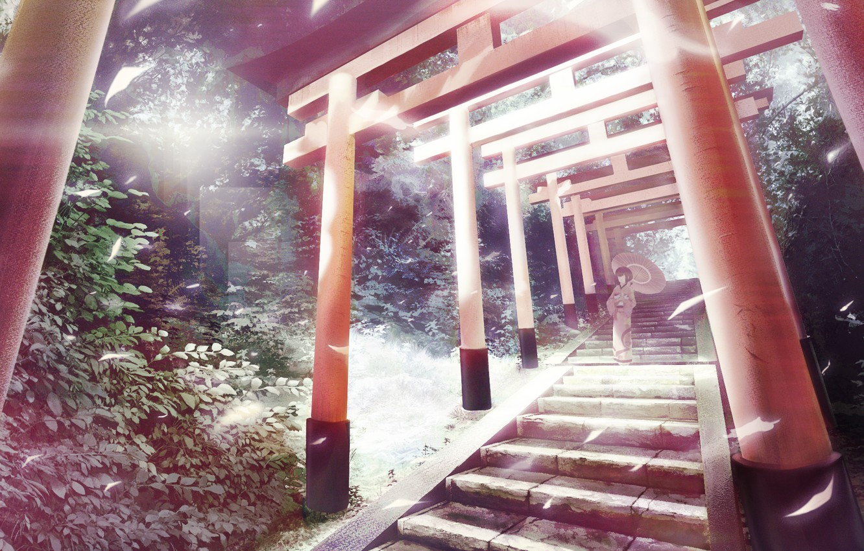 Photo wallpaper girl, nature, ladder, torii
