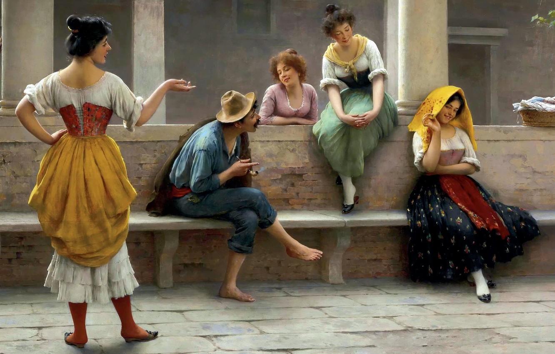 Photo wallpaper flirting, the conversation, Eugene-the Blow up, Eugene de Blaas