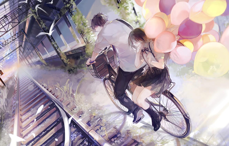 Photo wallpaper birds, balloons, romance, rails, walk, date, platform, students, well.d. station, on the bike, the guy …