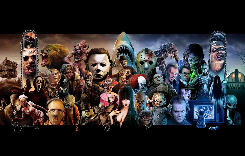Photo wallpaper Fly, Movie, Halloween, Jason Voorhees, Werewolf, Lights, Creek, Art, Horror, Freddy Krueger, Hellraiser, A nightmare ...
