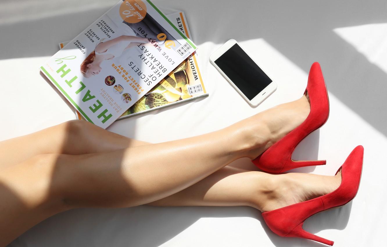 Photo wallpaper legs, phone, heels