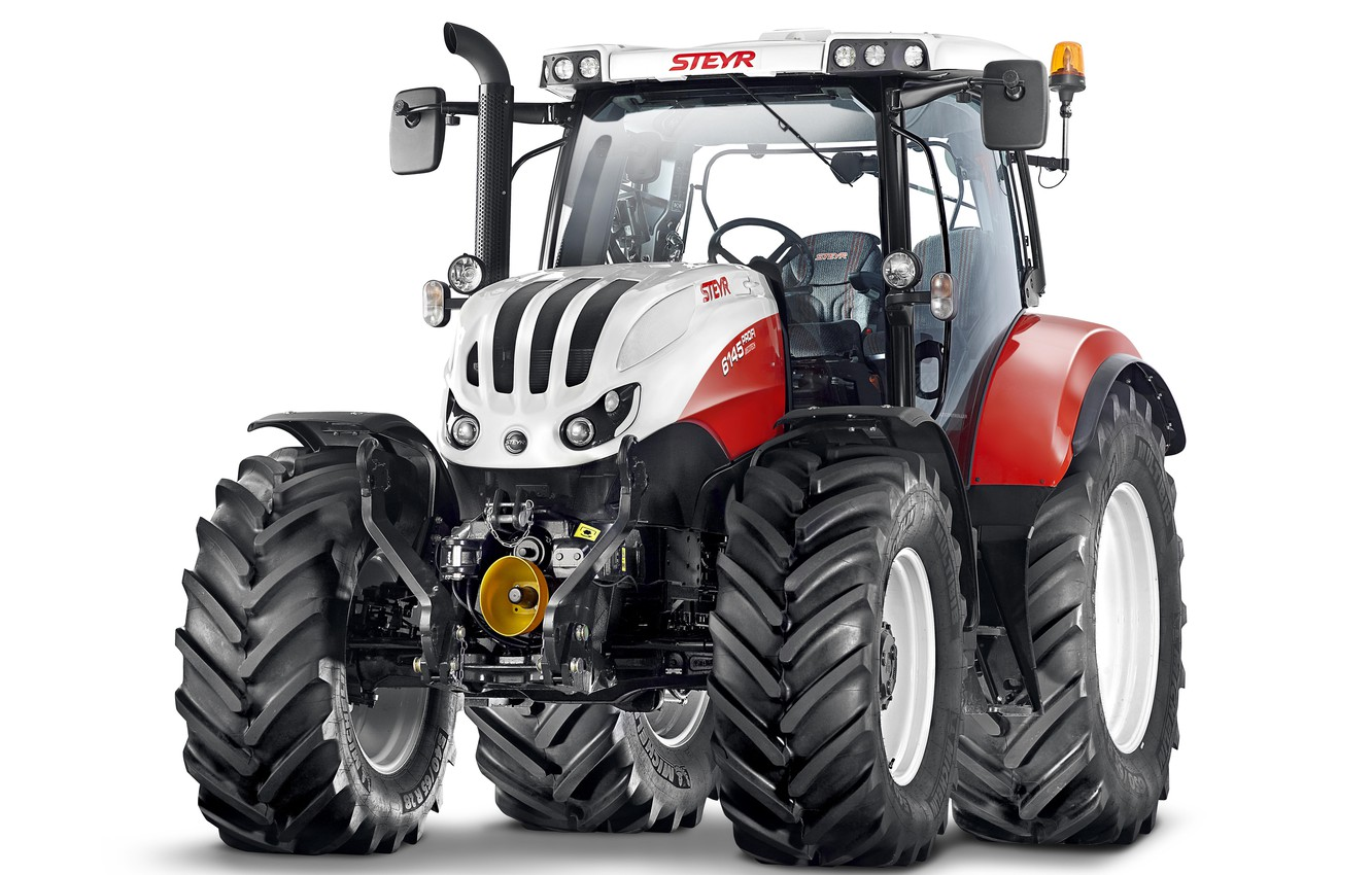 Photo wallpaper tractor, white background, Steyr, Professional, 6145