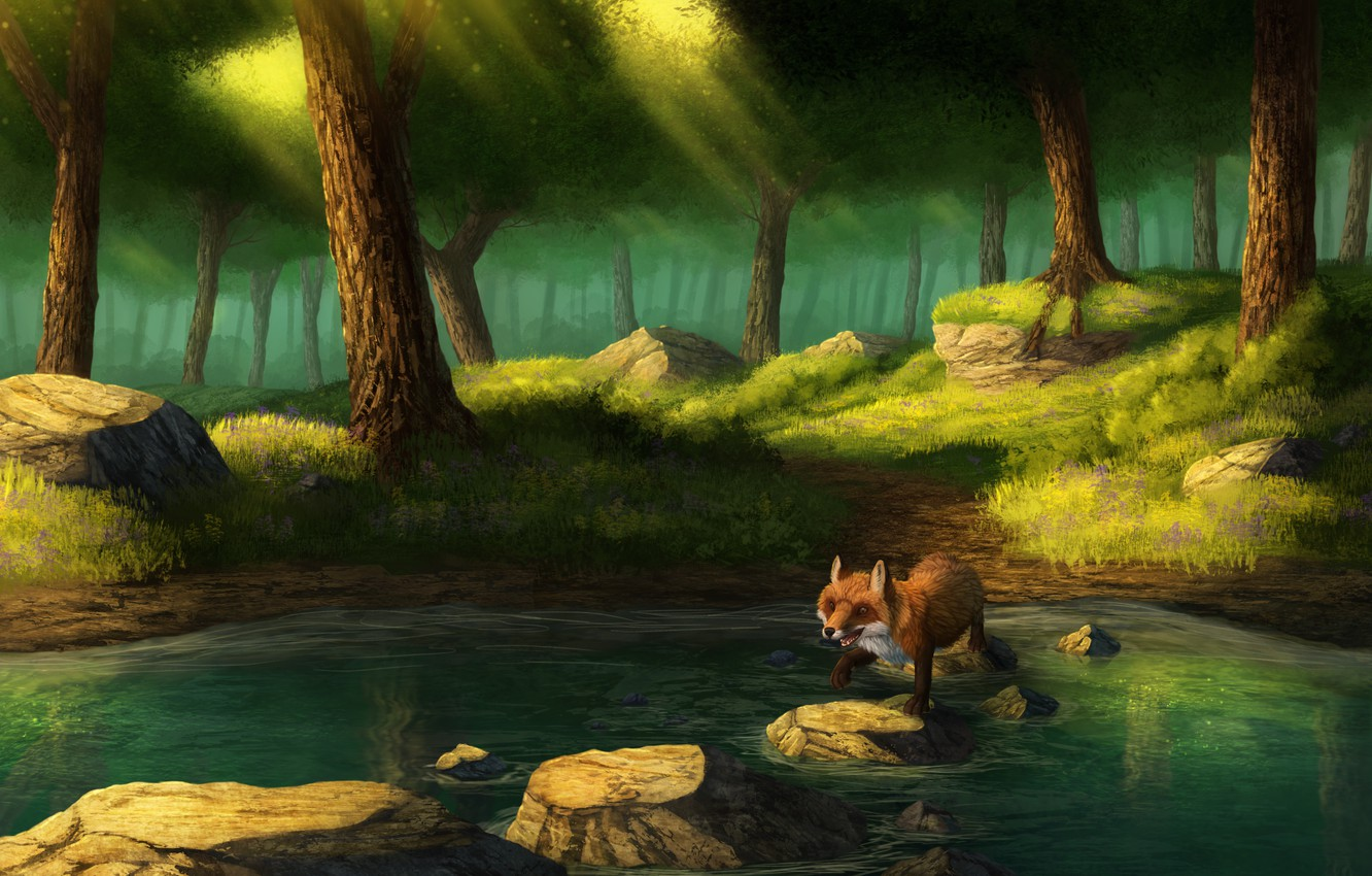 Photo wallpaper forest, lake, Fox, by CreeperMan0508