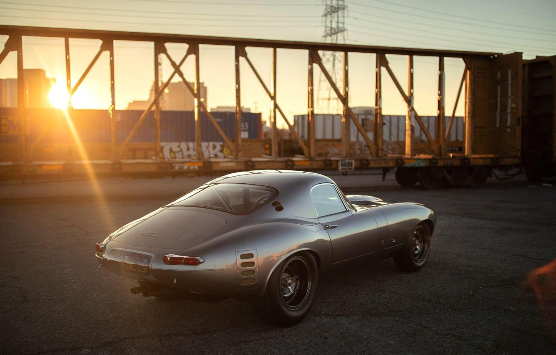 Photo wallpaper The sun, Grey, Jaguar E-Type, Sports car
