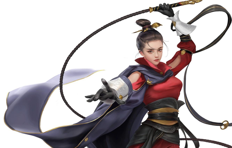 Photo wallpaper Girl, Style, Asian, Girl, Warrior, Art, Beautiful, Art, Asian, Style, Warrior, Beautiful, Whip, Whip, Jianyachi …