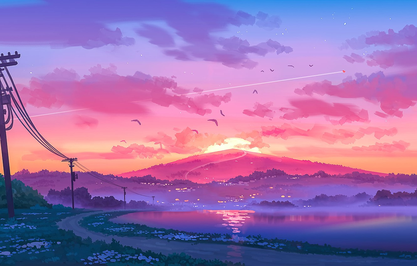 Photo wallpaper sunset, posts, wire, silence, mountain, pink clouds, the river, fog in the evening, the road …