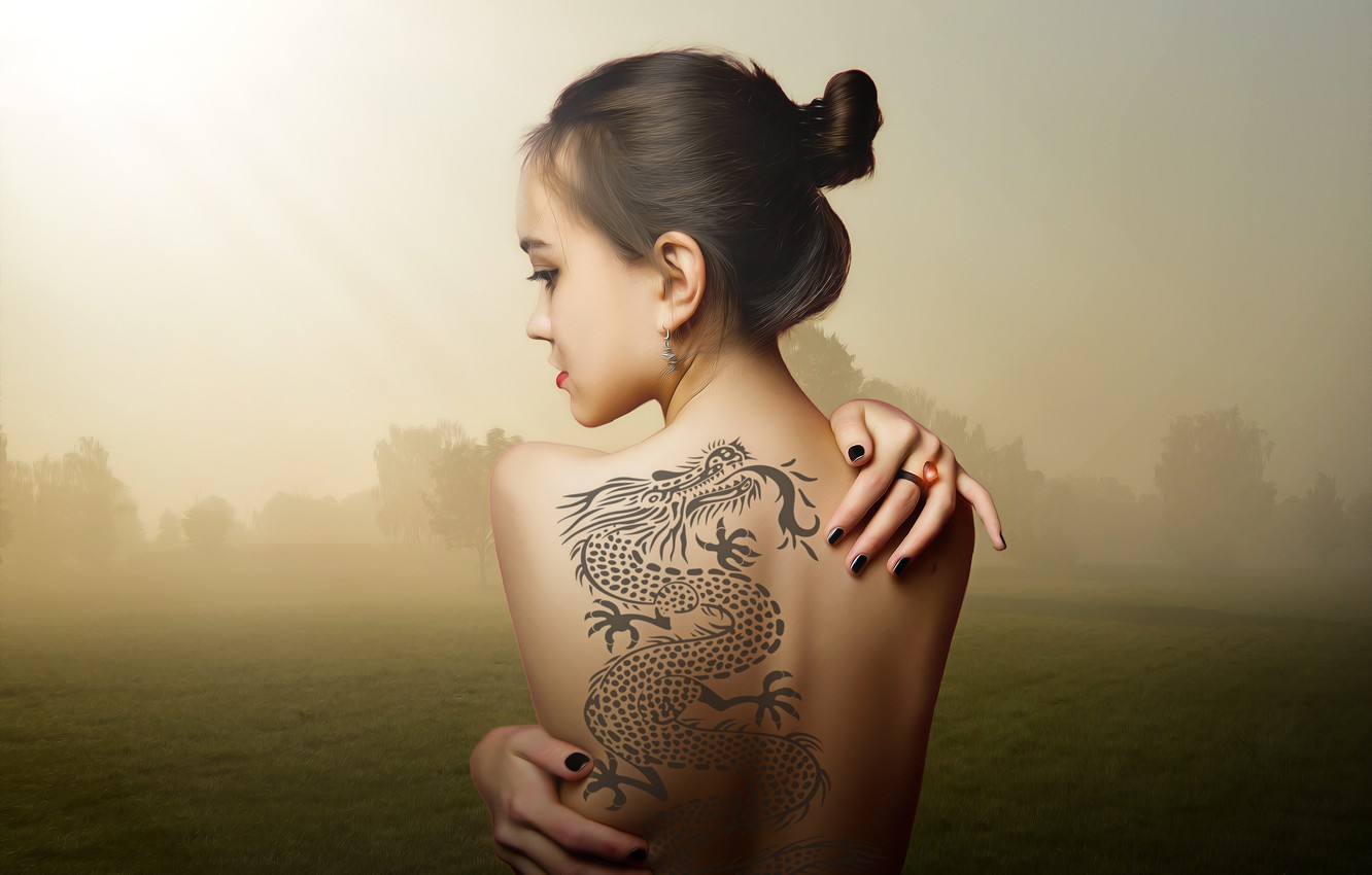 Photo wallpaper girl, decoration, landscape, tattoo, hairstyle, back bare, Sepia background