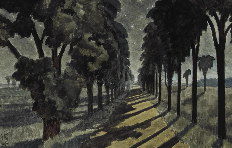 Photo wallpaper Moonlight, 1937, Charles Ephraim Burchfield, Along a Country Road