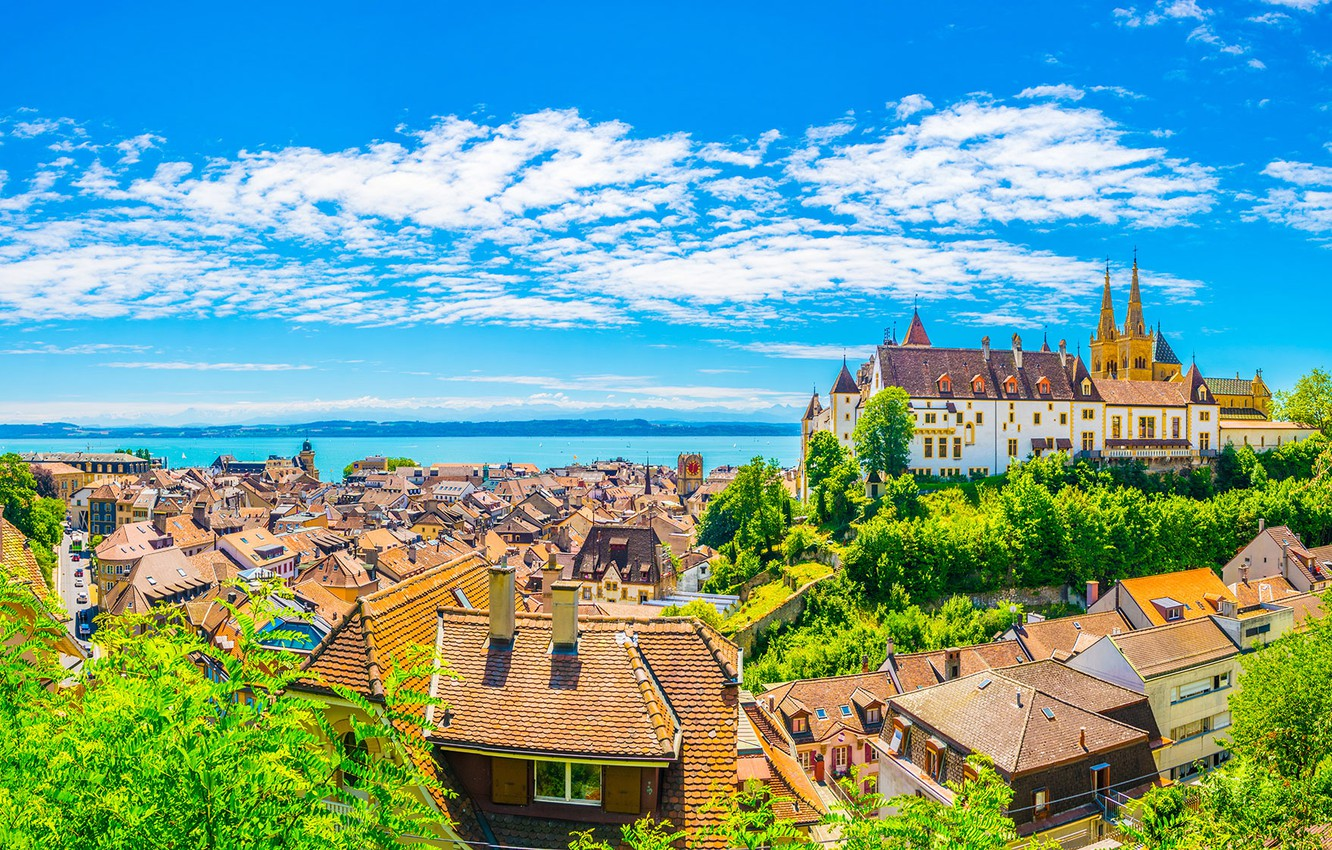 Photo wallpaper the sky, castle, home, Switzerland, roof, Neuchâtel