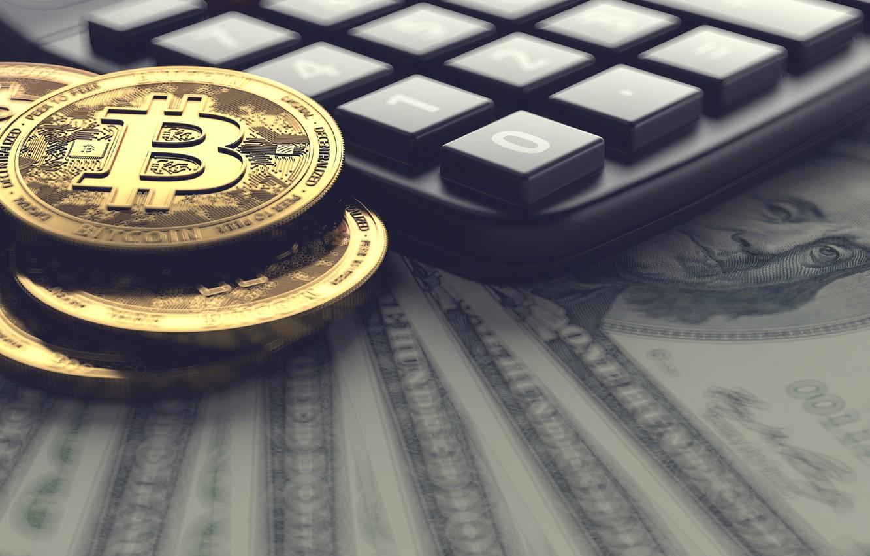 Photo wallpaper money, dollars, bitcoin, calculator