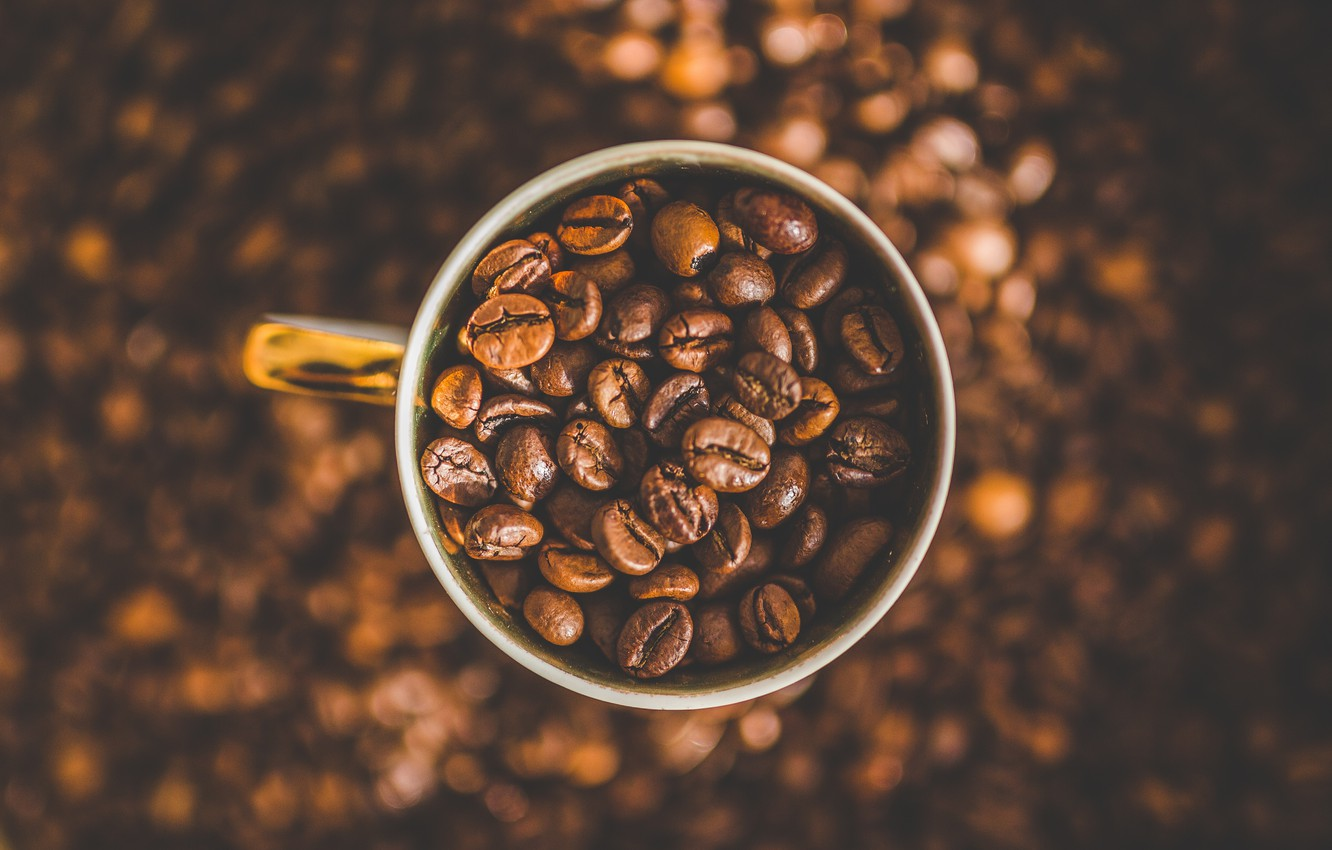 Photo wallpaper Macro, Grain, Coffee, A bunch, Cup, A lot, Coffee beans, Coffee, Close-up, Grain, Grains, Roasted, …
