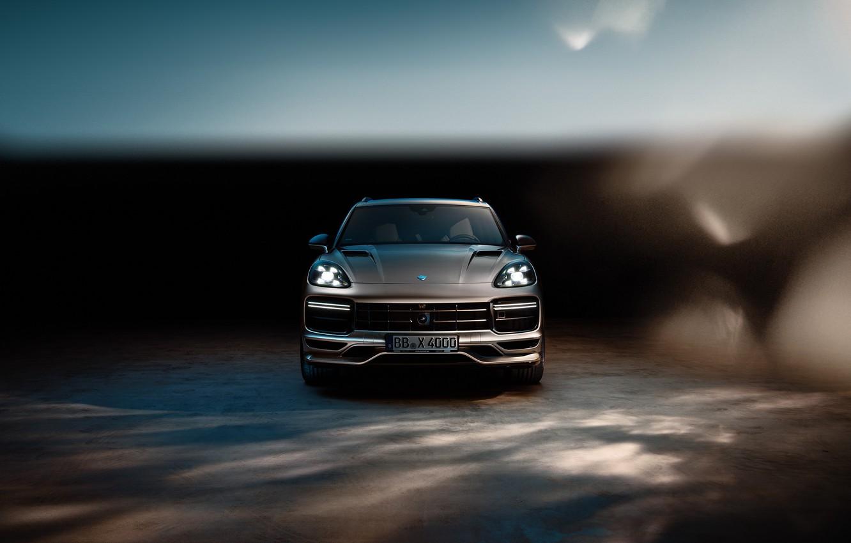 Photo wallpaper Porsche, front view, Turbo, 2018, Cayenne, TechArt